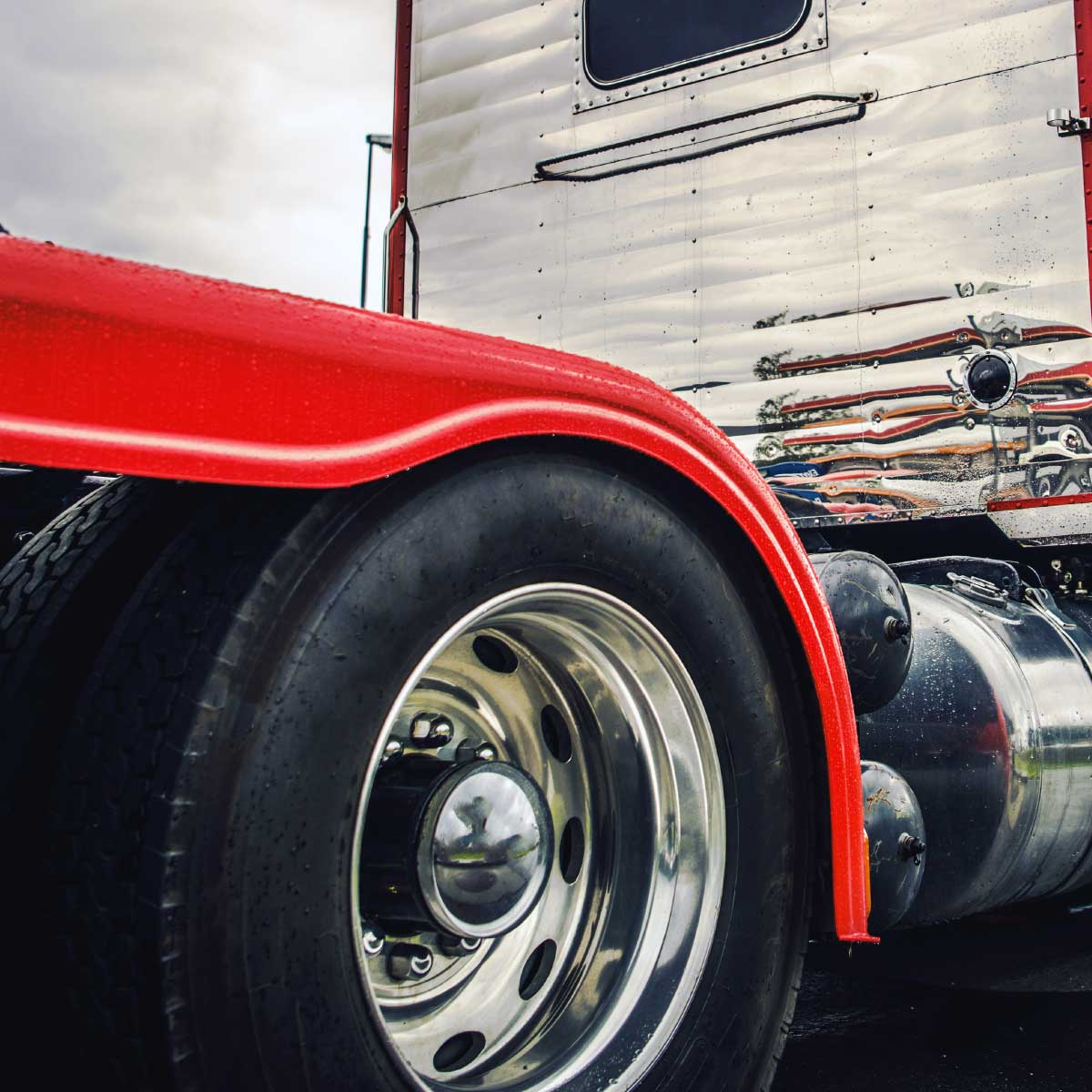 Silver and Red Semi Truck